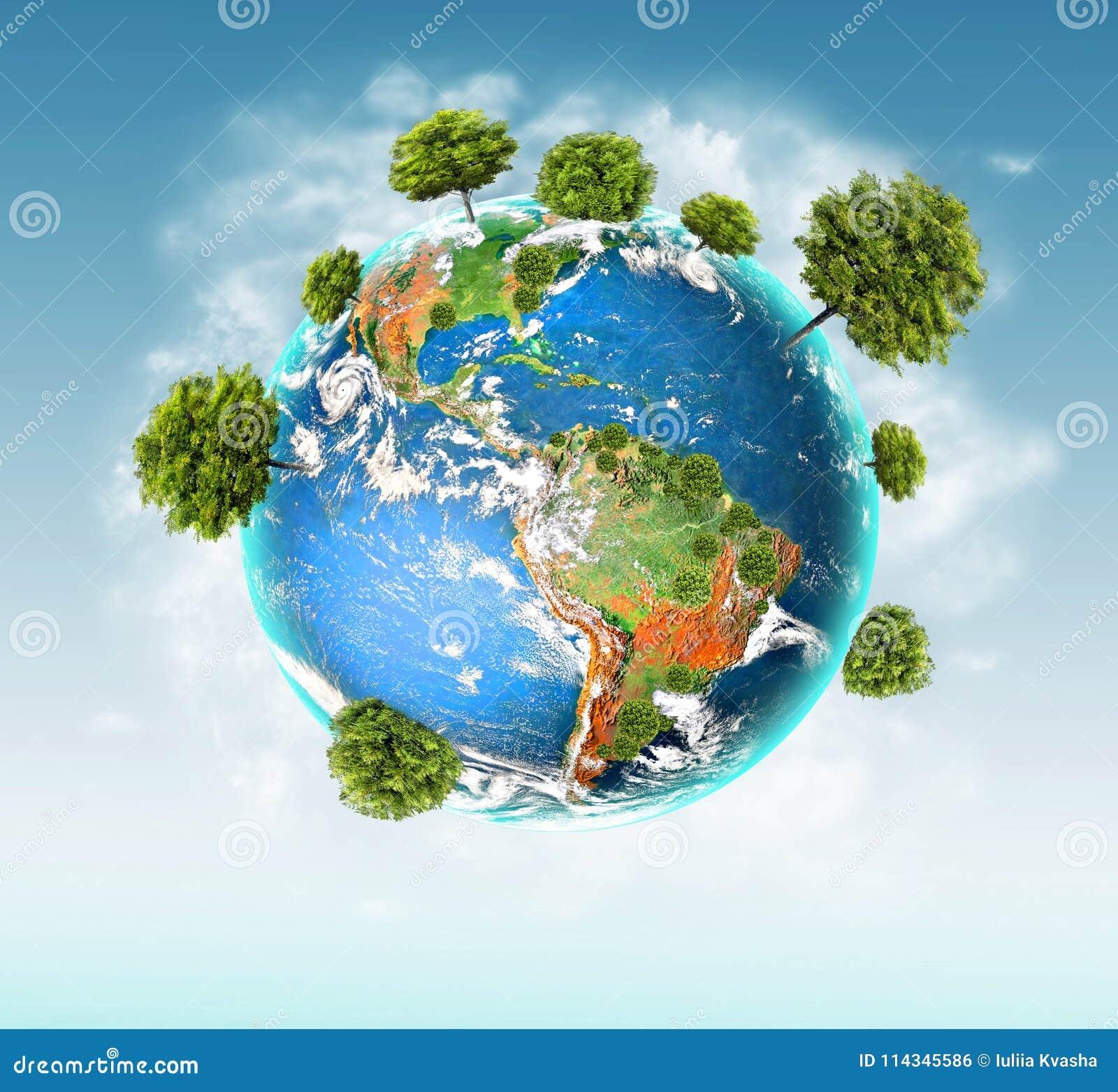 Conceito ecológico do ambiente com o cultivo das árvores Terra do planeta Globo físico da terra