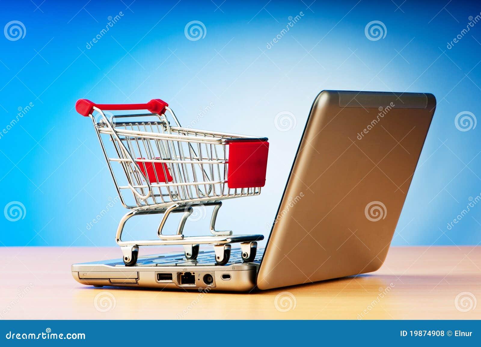 Conceito em linha da compra do Internet