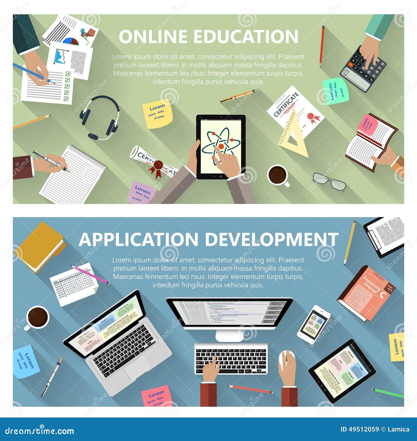 Conceito em linha da educação e do desenvolvimento do app