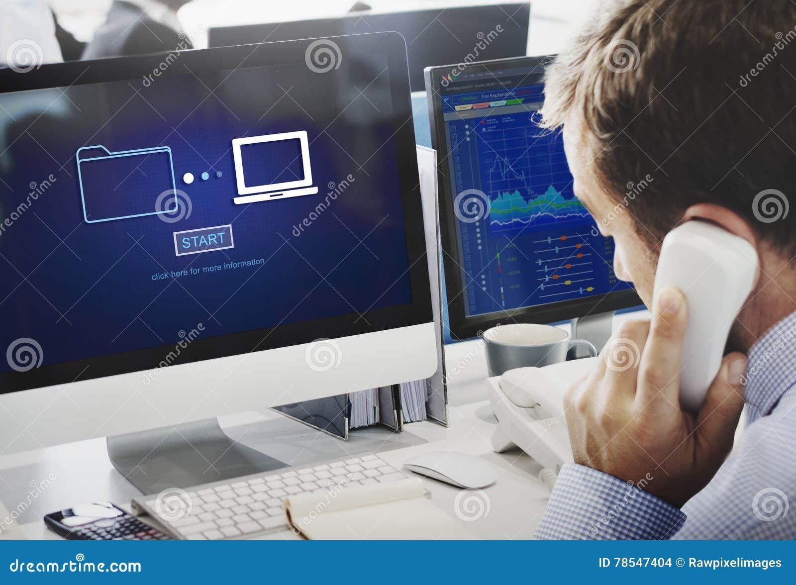 Conceito em linha da tecnologia da informação da sincronização de transferência de dados do armazenamento