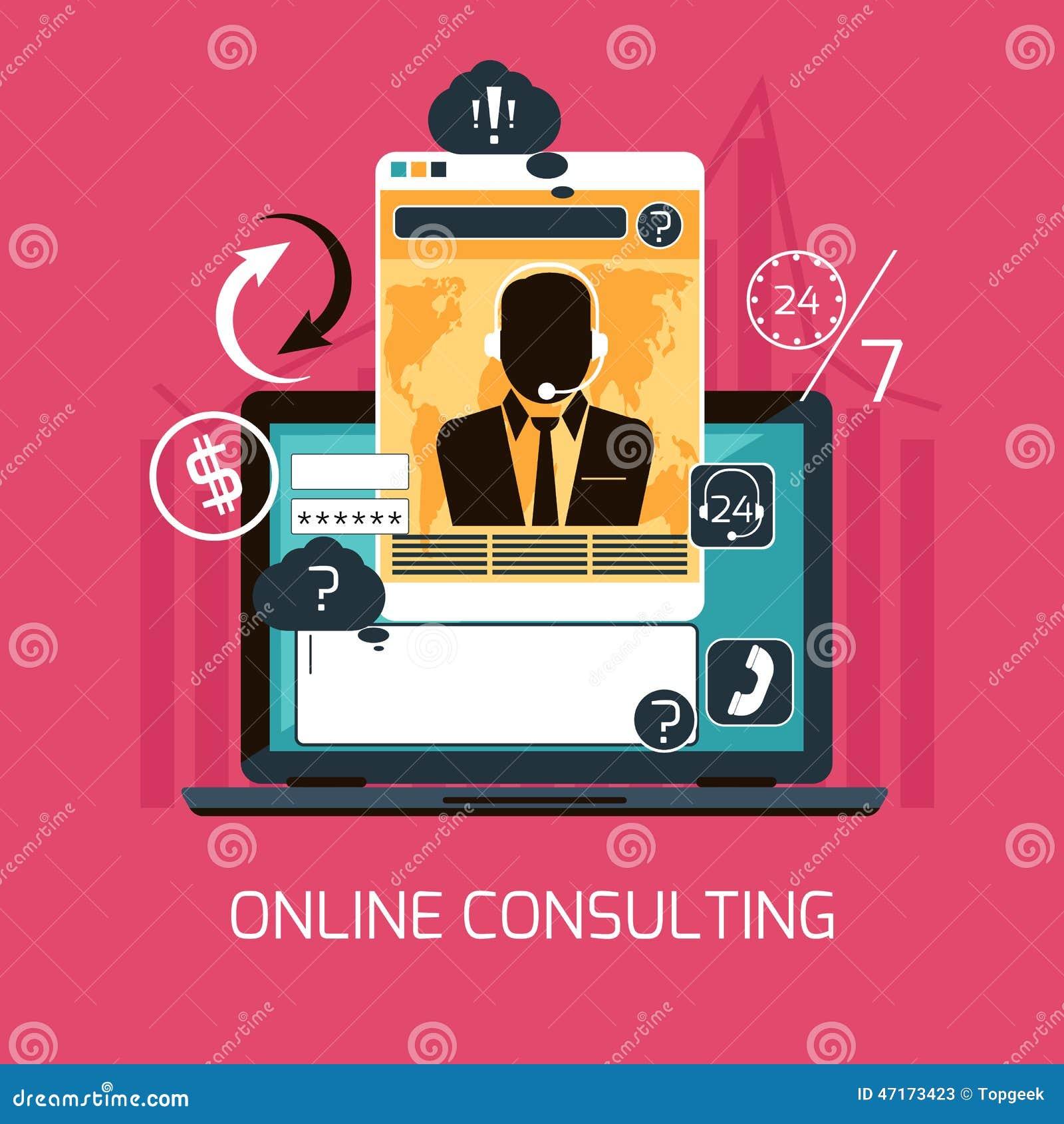 Conceito em linha do serviço de consultadoria do cliente