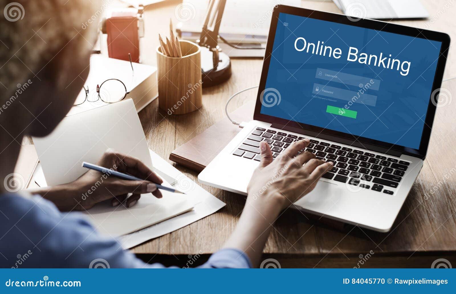 Conceito em linha dos Internet banking do pagamento