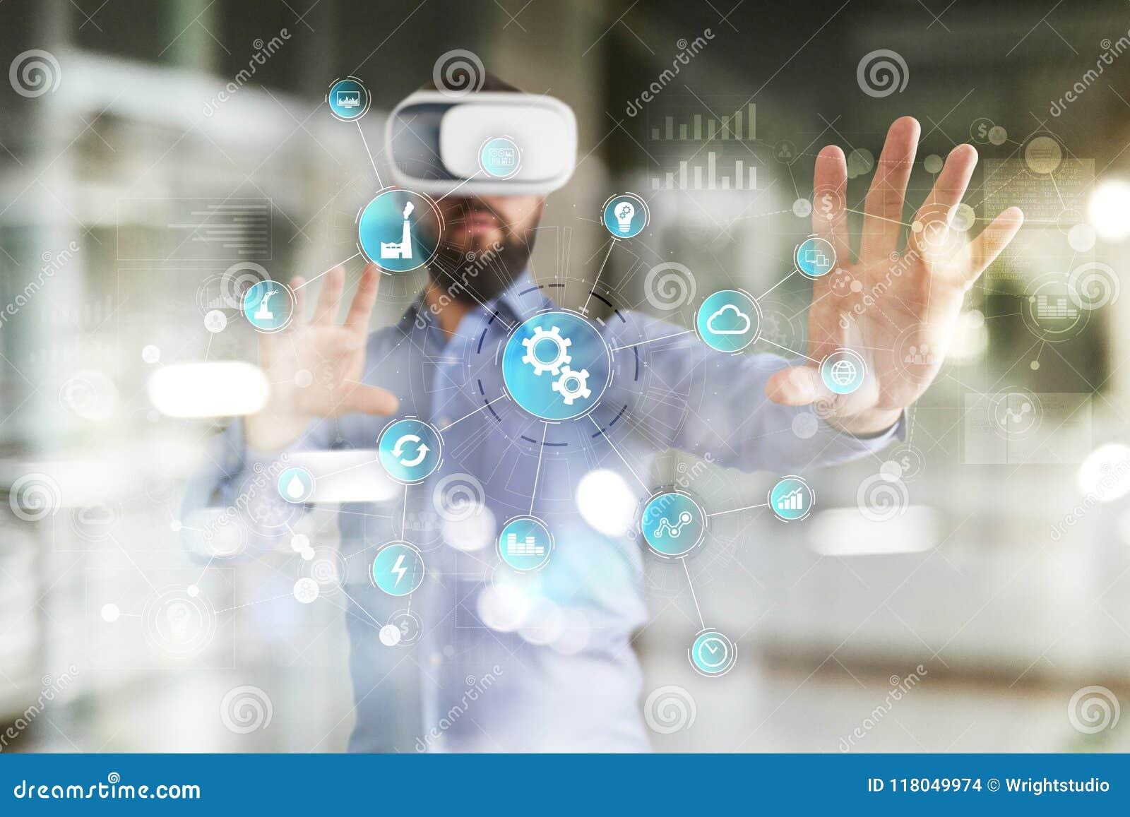 Conceito esperto da indústria e da automatização Internet das coisas IOT, conceito da tecnologia