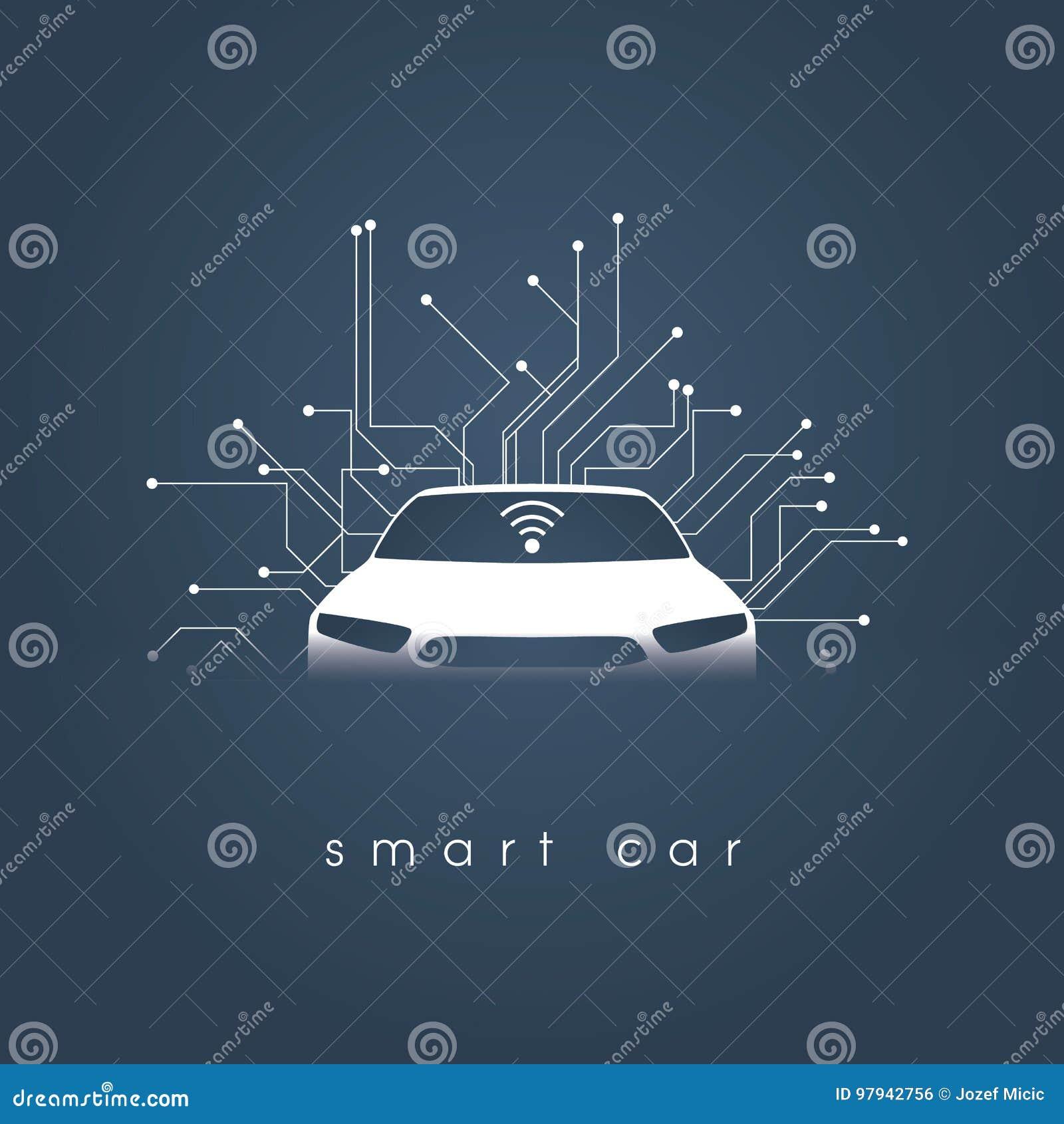 Conceito esperto ou inteligente do vetor do carro Tecnologia automotivo futurista com condução autônoma, carros driverless