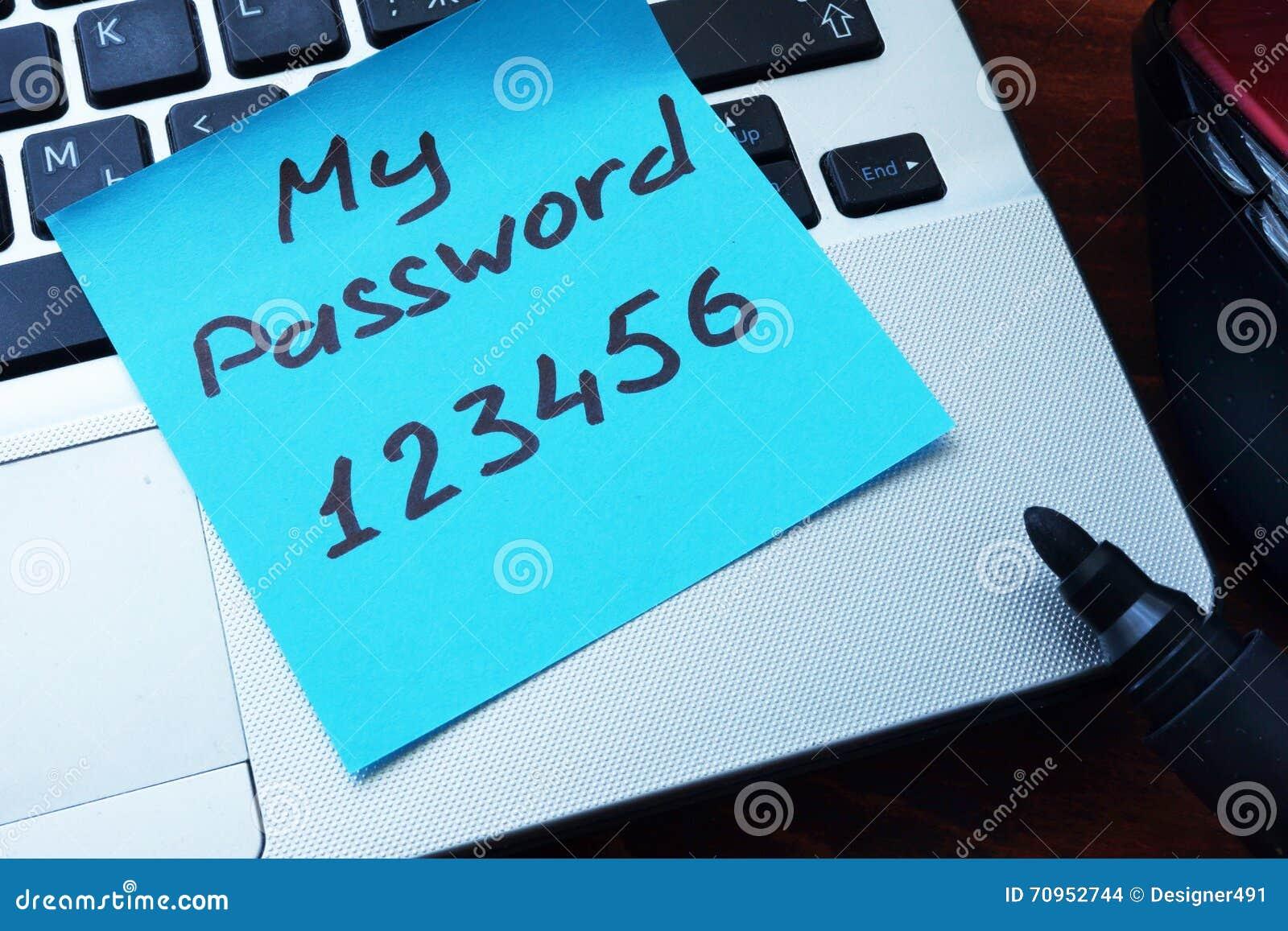 Conceito fácil da senha Minha senha 123456 escrita em um papel