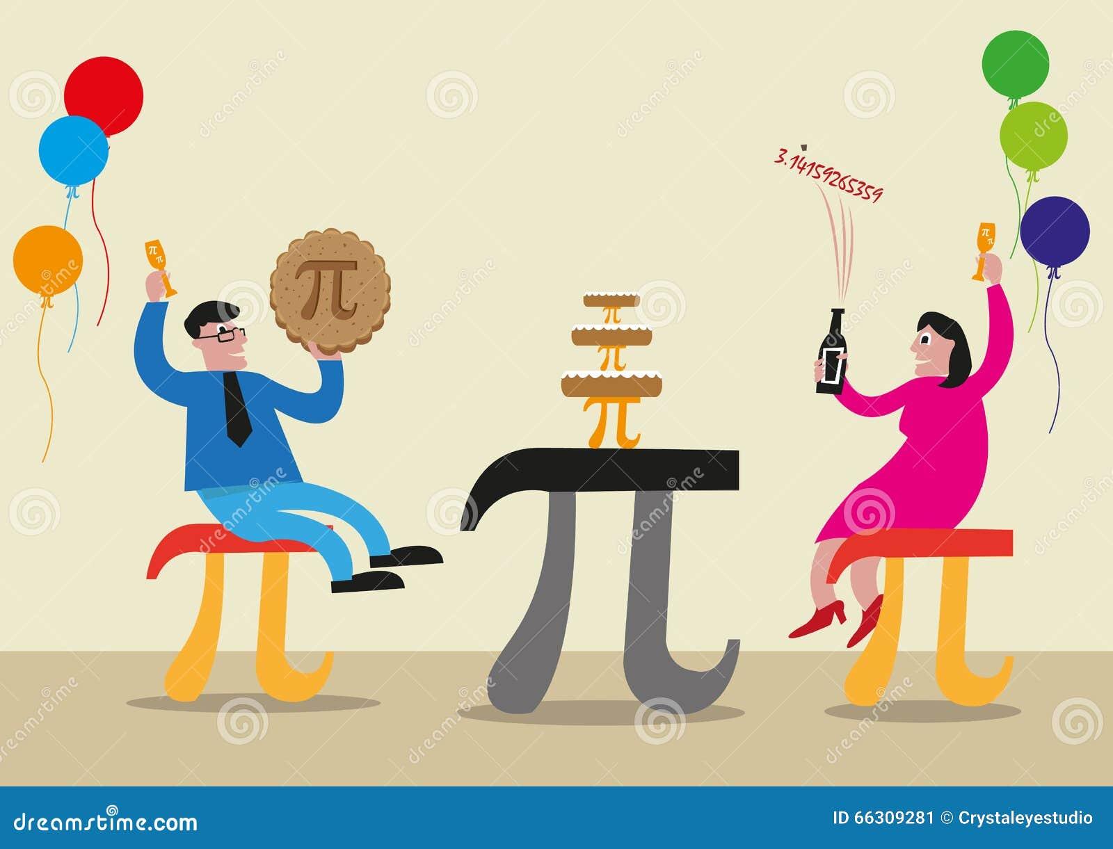 Conceito feliz do dia do pi Os povos estão comemorando com o símbolo de letra grego do pi feito como cadeiras, alimento e tabelas