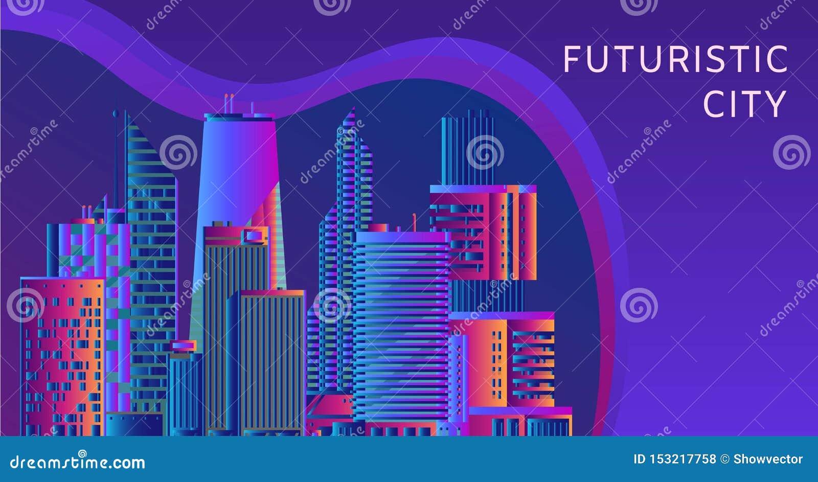 Conceito futurista, da tecnologia energética e da arquitetura da cidade do vetor do sumário Imagem dos raios claros, linhas das l