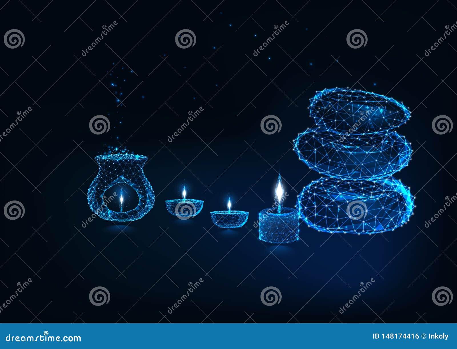 Conceito futurista do spa resort com lam da aromaterapia, lâmpadas de óleo, velas e pedras do zen