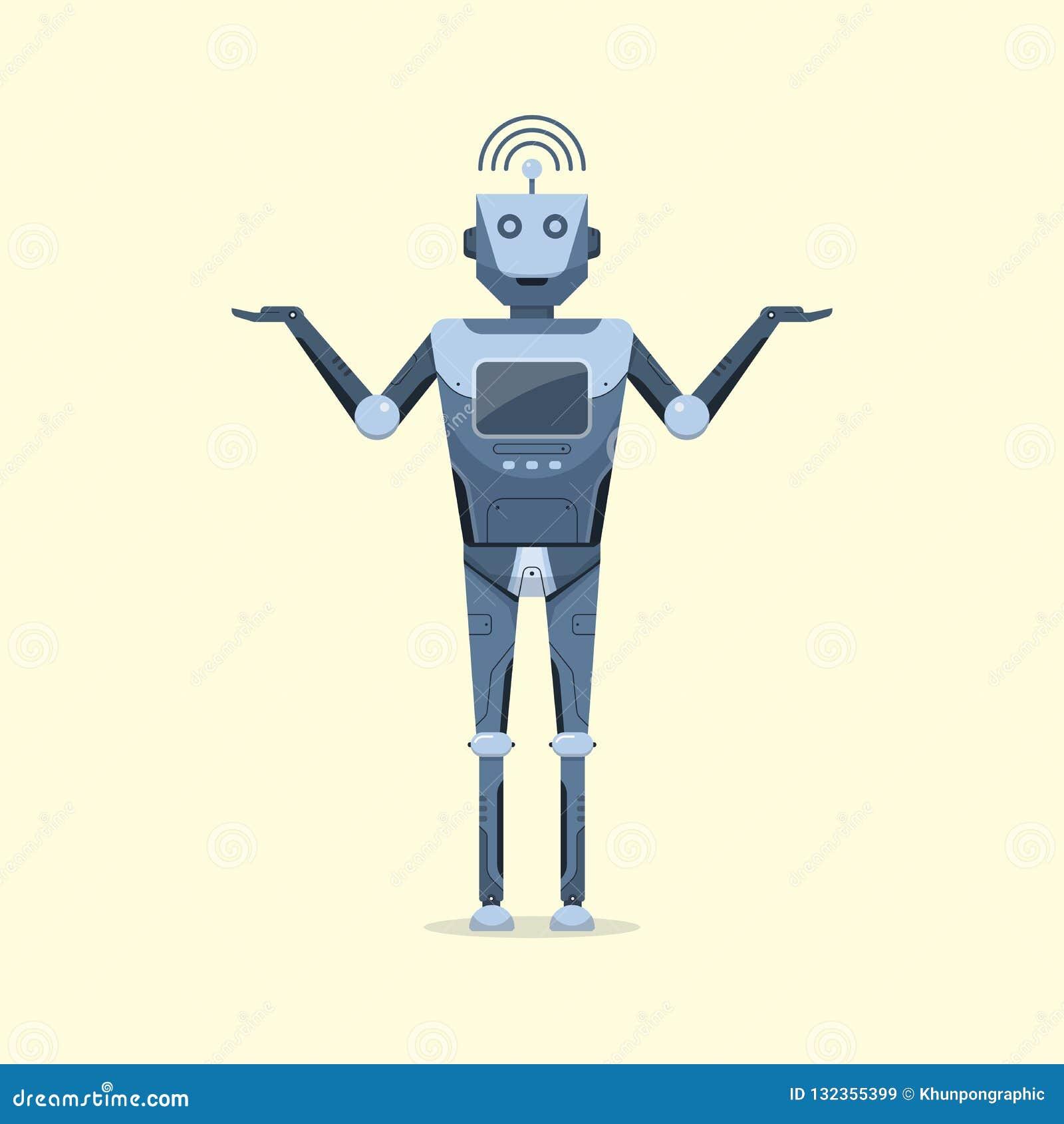 Conceito futuro inteligente artificial da tecnologia dos desenhos animados do projeto de caráter do robô