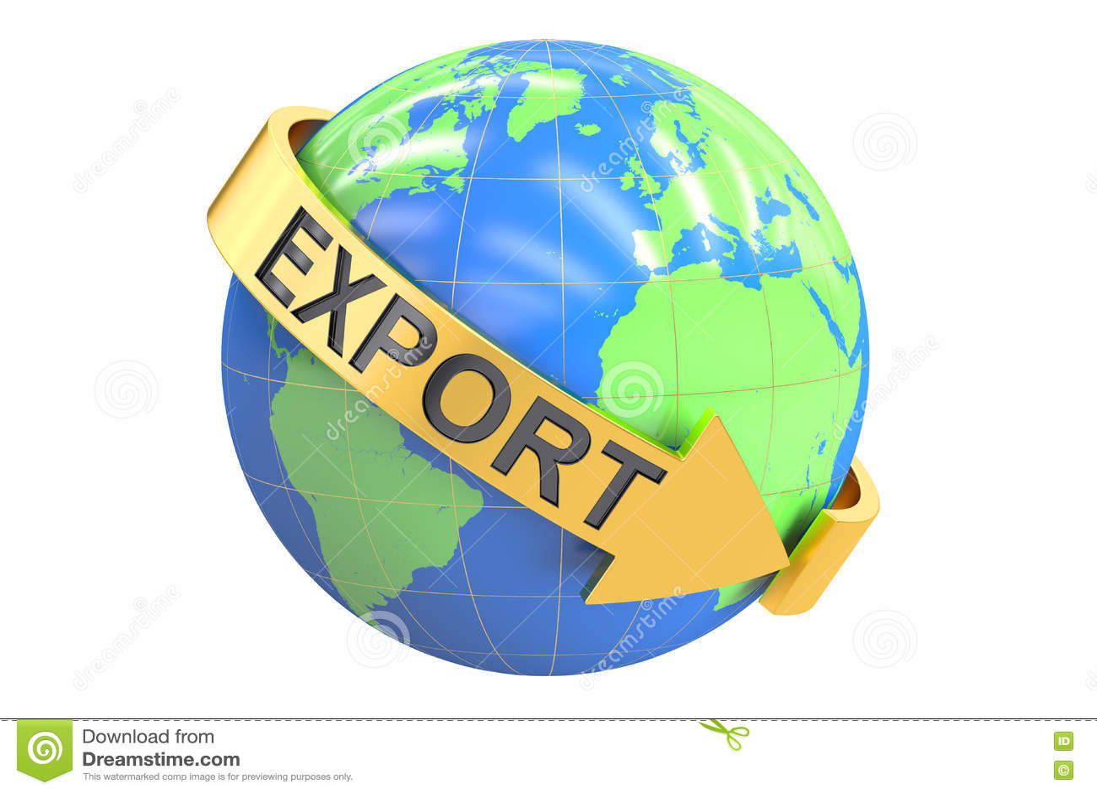 Conceito global da exportação, rendição 3D