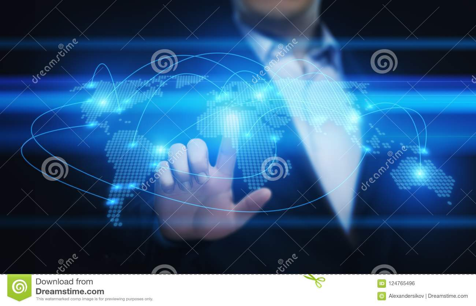 Conceito global de Techology do Internet da rede do negócio da conexão de uma comunicação do mundo