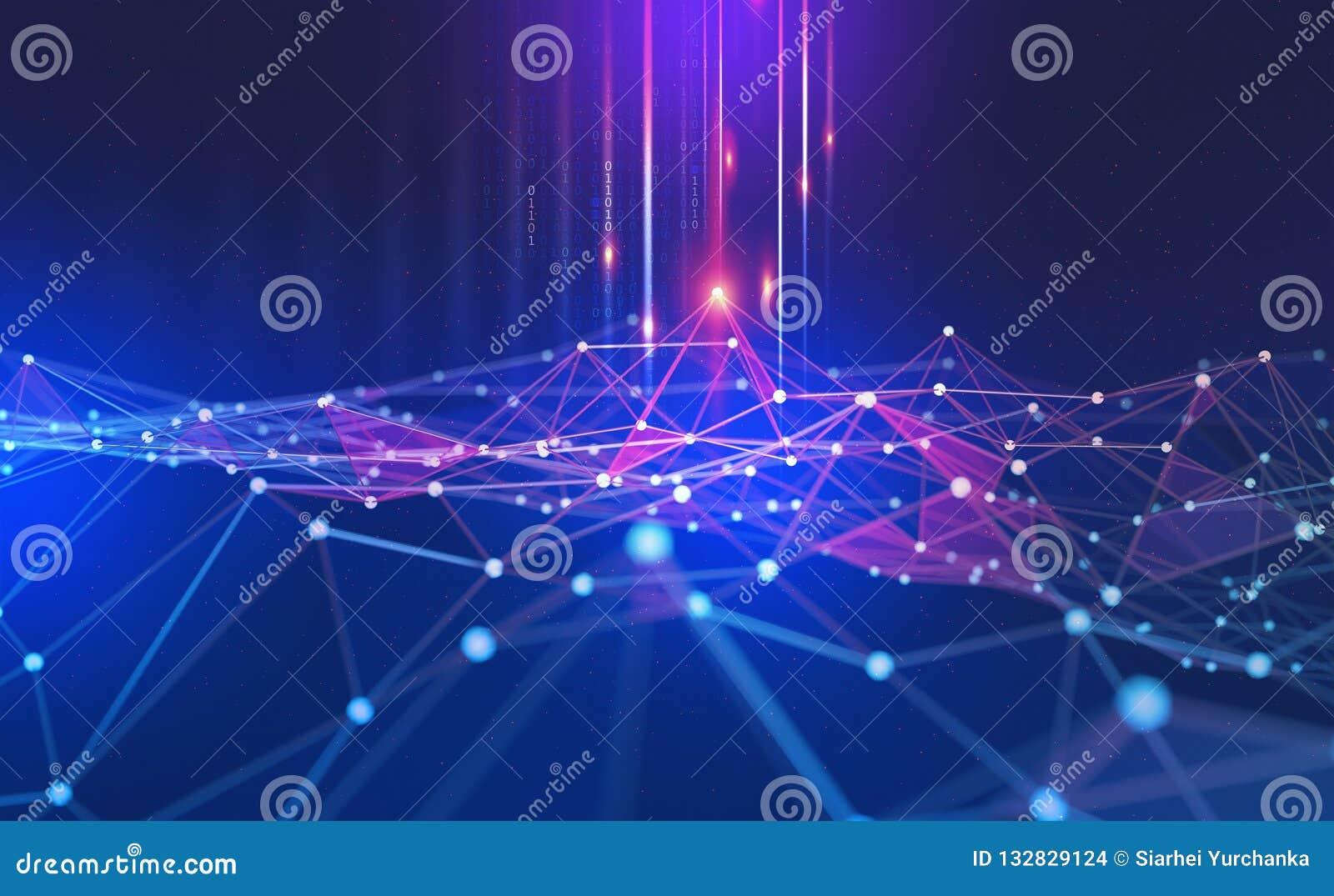 Conceito grande dos dados Fundo tecnologico abstrato de Blockchain Redes neurais e inteligência artificial