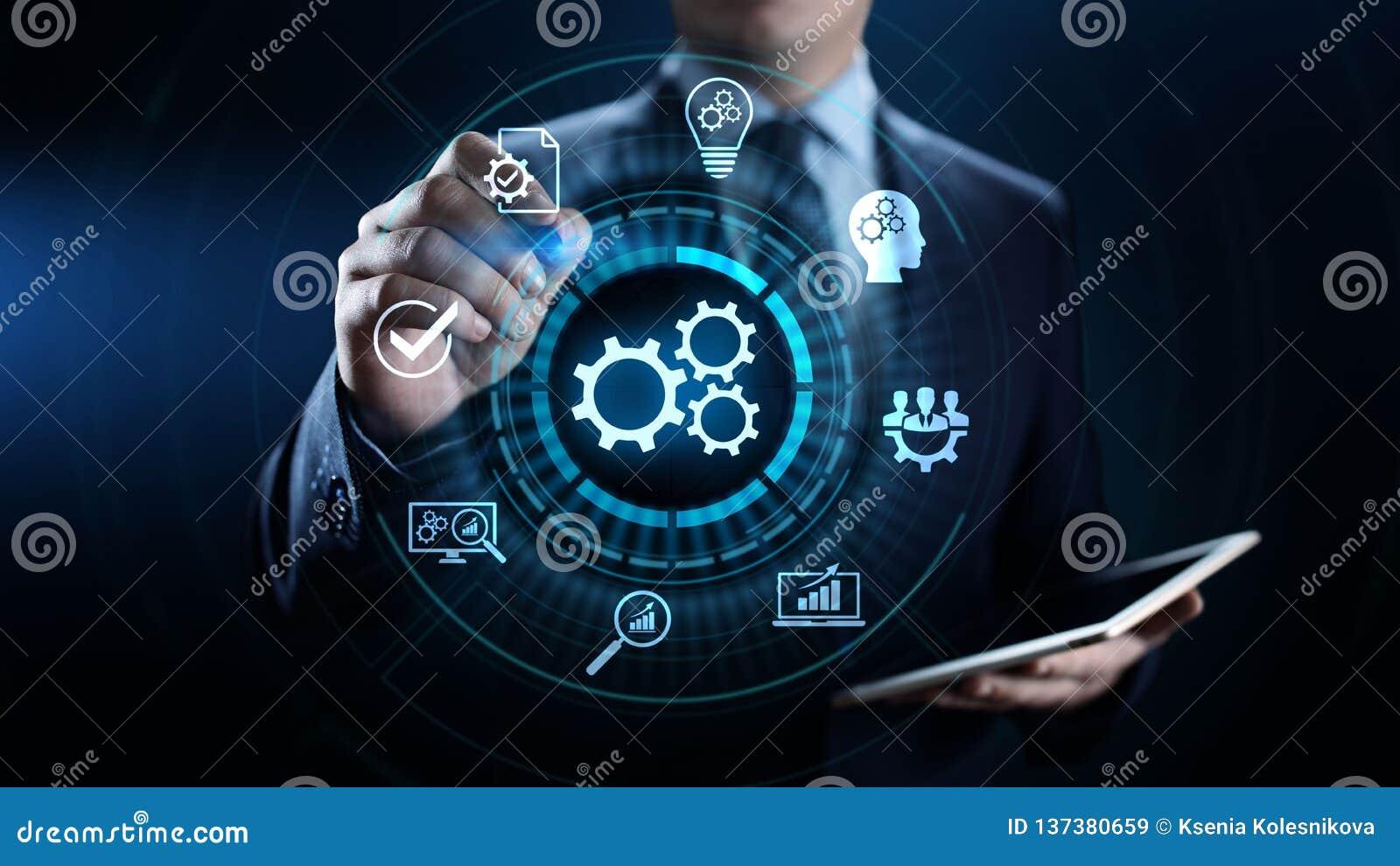 Conceito industrial da otimização da inovação da tecnologia da automatização de processo de negócios