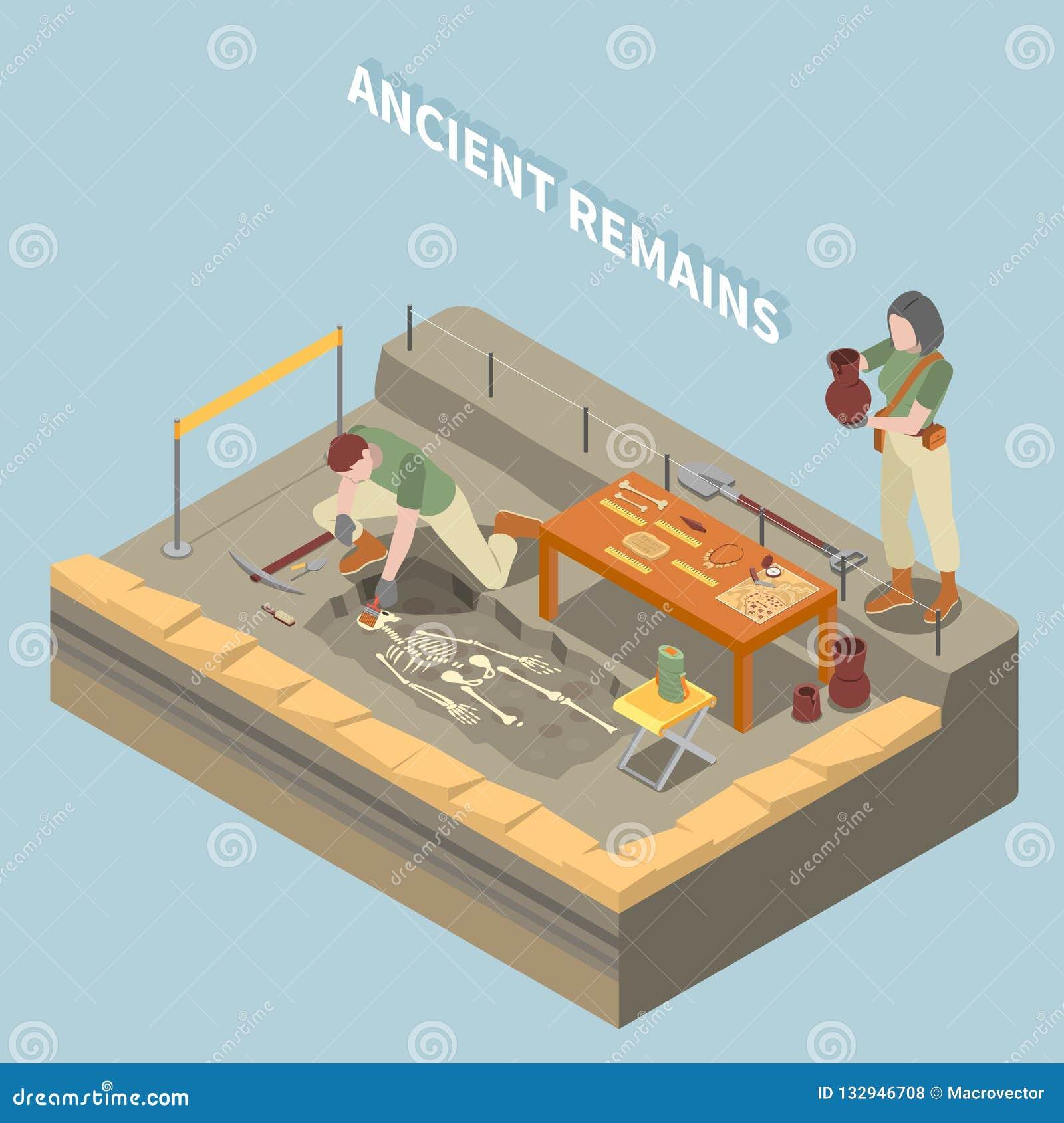 Conceito isométrico da arqueologia