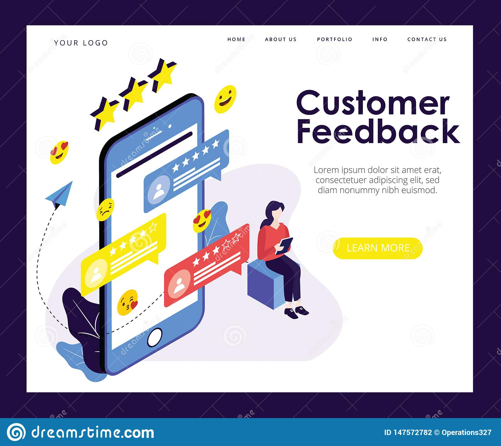 Conceito isométrico da arte finala do formulário do feedback de cliente