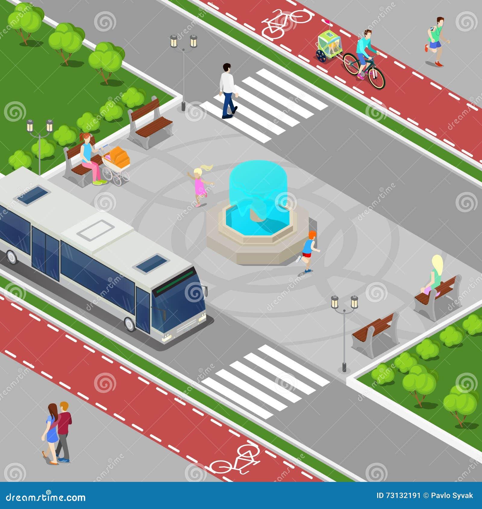 Conceito isométrico da cidade moderna Fonte da cidade com crianças Trajeto da bicicleta com povos da equitação