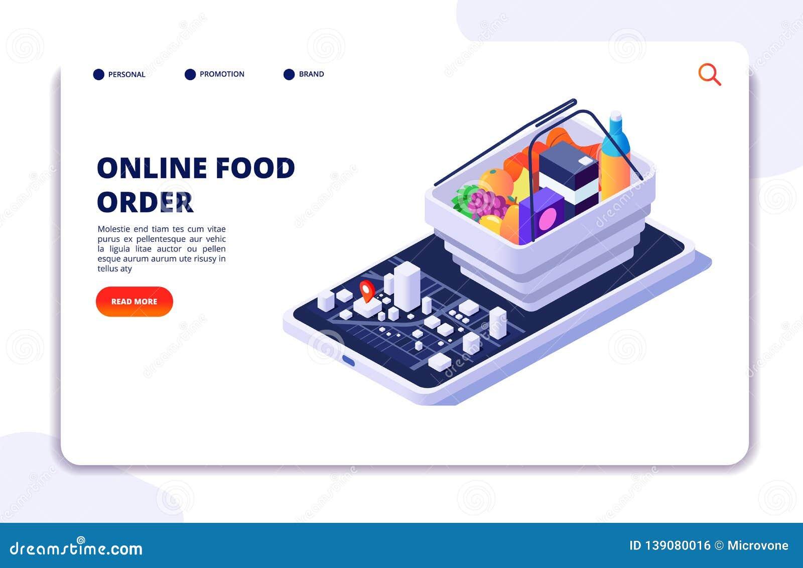 Conceito isométrico da entrega do alimento do mantimento Ordem em linha com app do telefone celular Bandeira do vetor do restaura