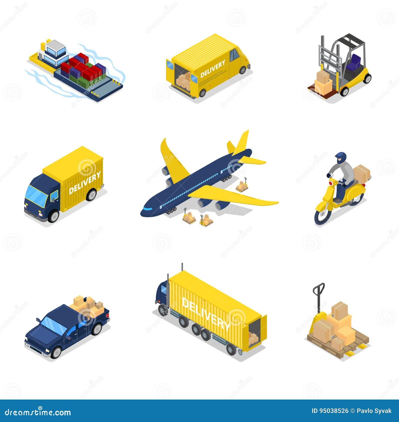 Conceito isométrico da entrega Transporte do frete do plano de carga aérea, caminhão,  trotinette