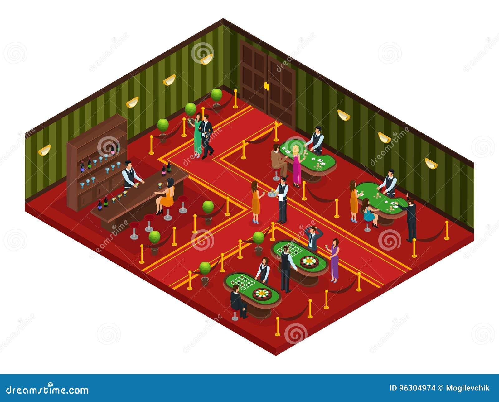 Conceito isométrico da sala do jogo do casino
