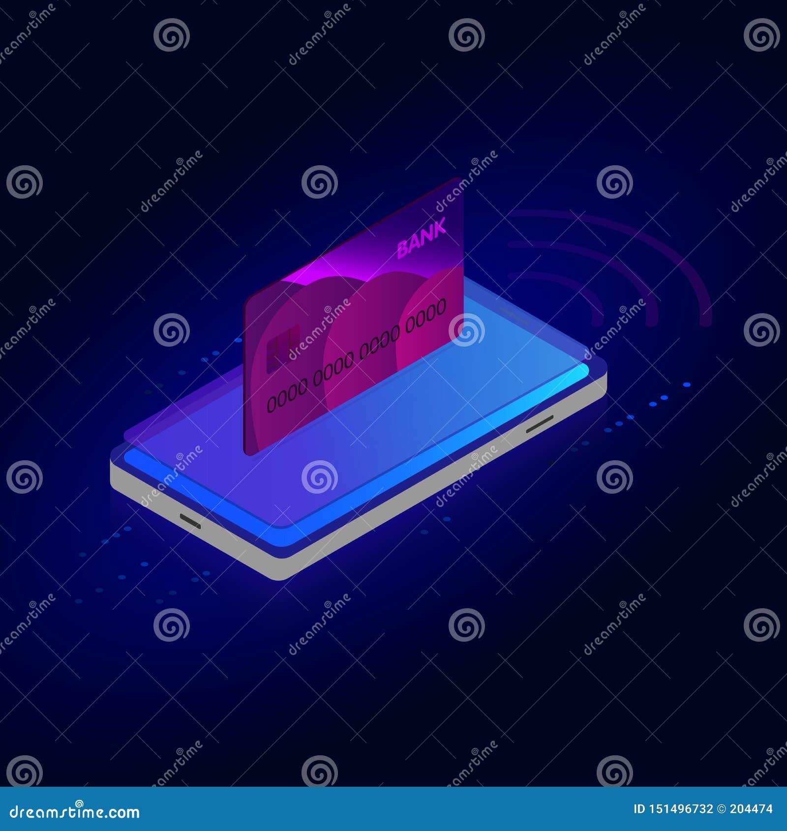 Conceito isométrico de compra em linha, venda, consumição e loja em linha Molde de compra em linha do projeto do telefone celular
