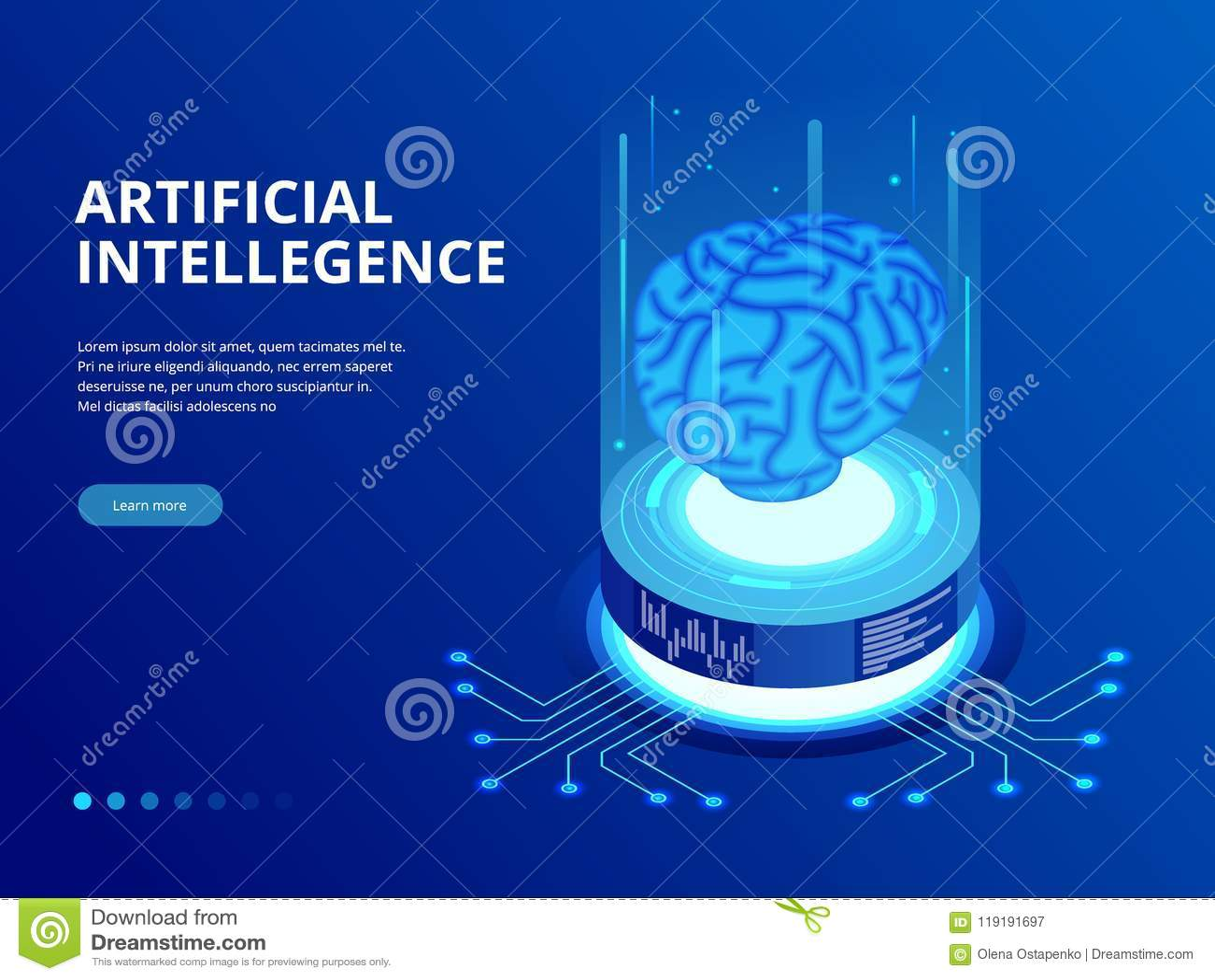 Conceito isométrico do negócio da inteligência artificial Conceito da tecnologia e da engenharia, smartphone do PC da conexão de