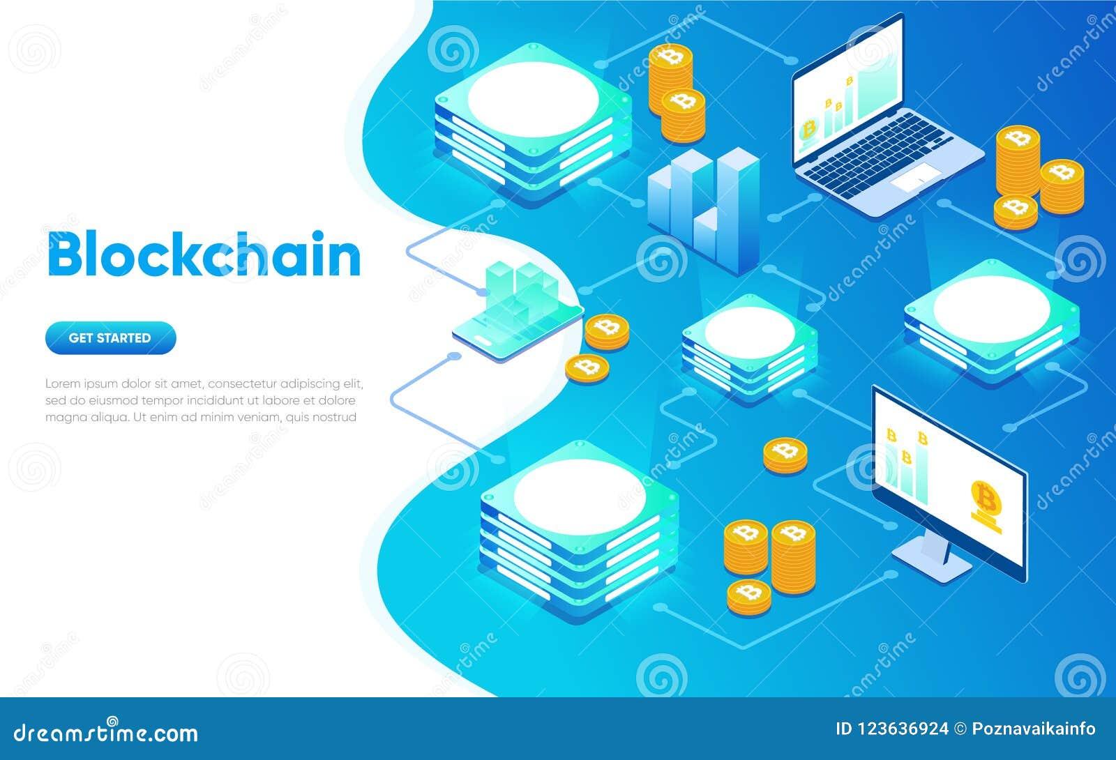 Conceito isométrico do projeto liso moderno de Blockchain Conceito de Cryptocurrency Molde da página da aterragem Isométrico conc