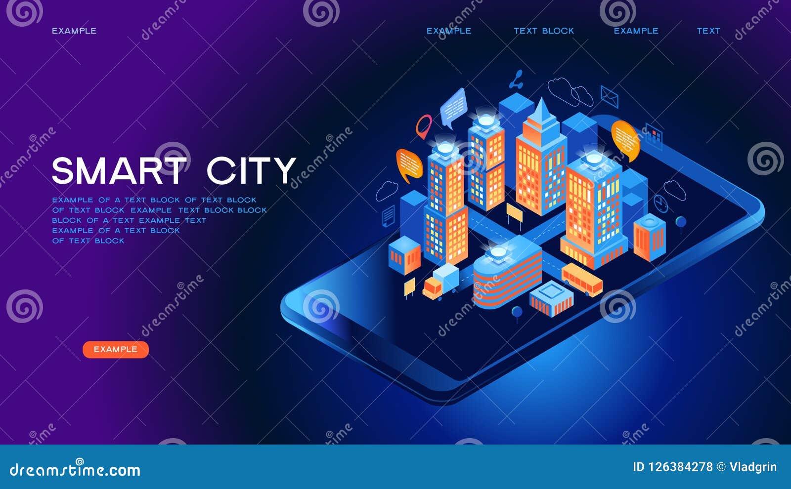 Conceito isométrico do vetor da cidade esperta ou da construção inteligente