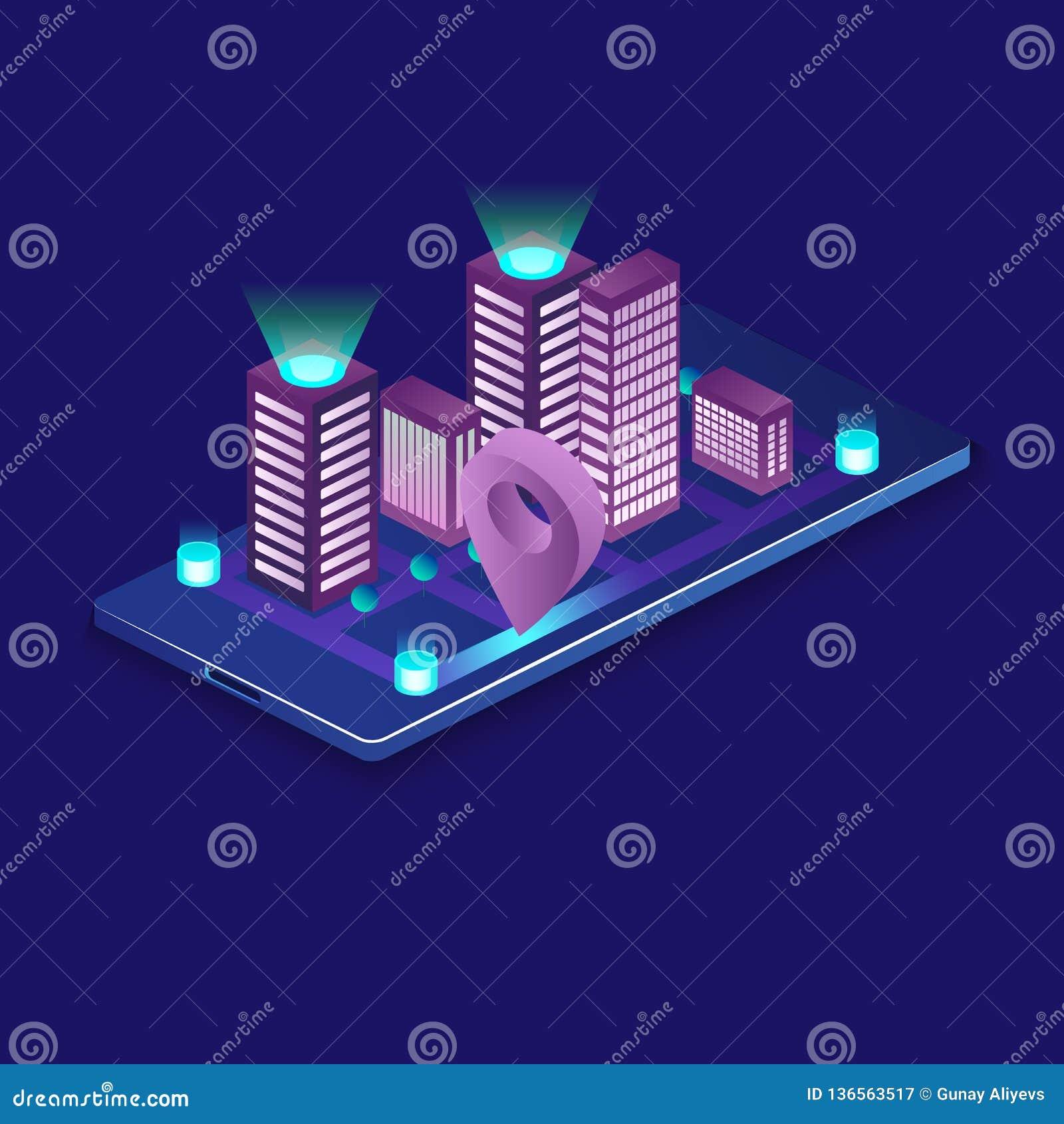 Conceito isométrico do vetor da cidade esperta ou da construção inteligente Automatização da construção com ilustração dos trabal