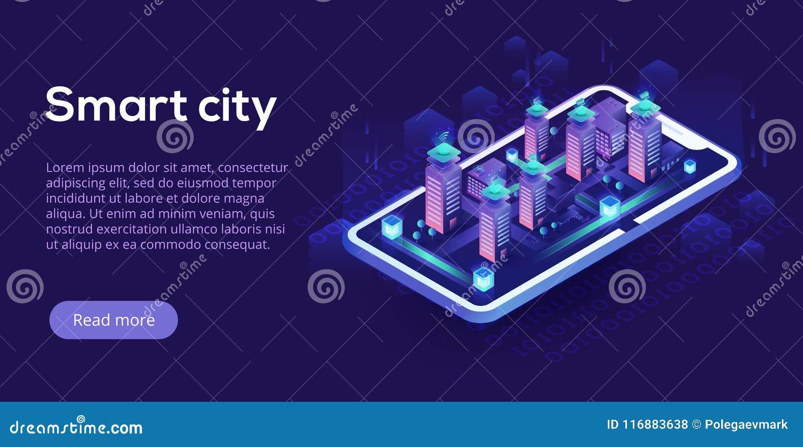 Conceito isométrico do vetor da cidade esperta ou da construção inteligente Bui
