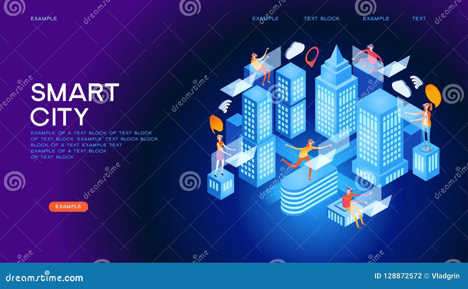 Conceito isométrico do vetor da cidade futura ou da construção inteligente