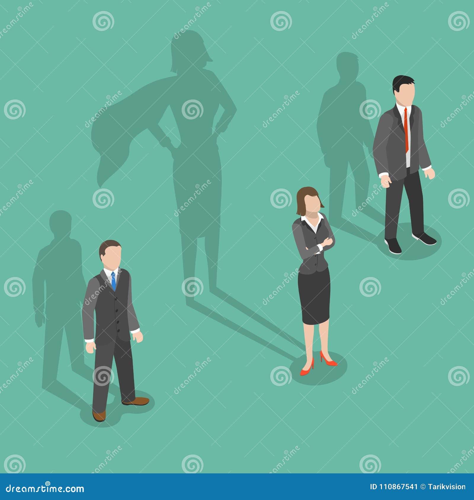 Conceito isométrico liso do vetor do líder da mulher