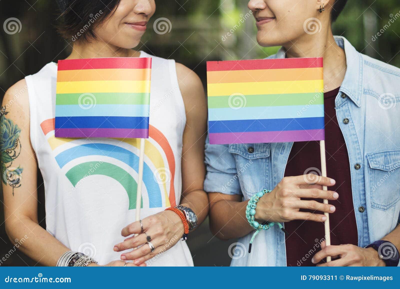 Conceito lésbica da felicidade dos momentos dos pares de LGBT