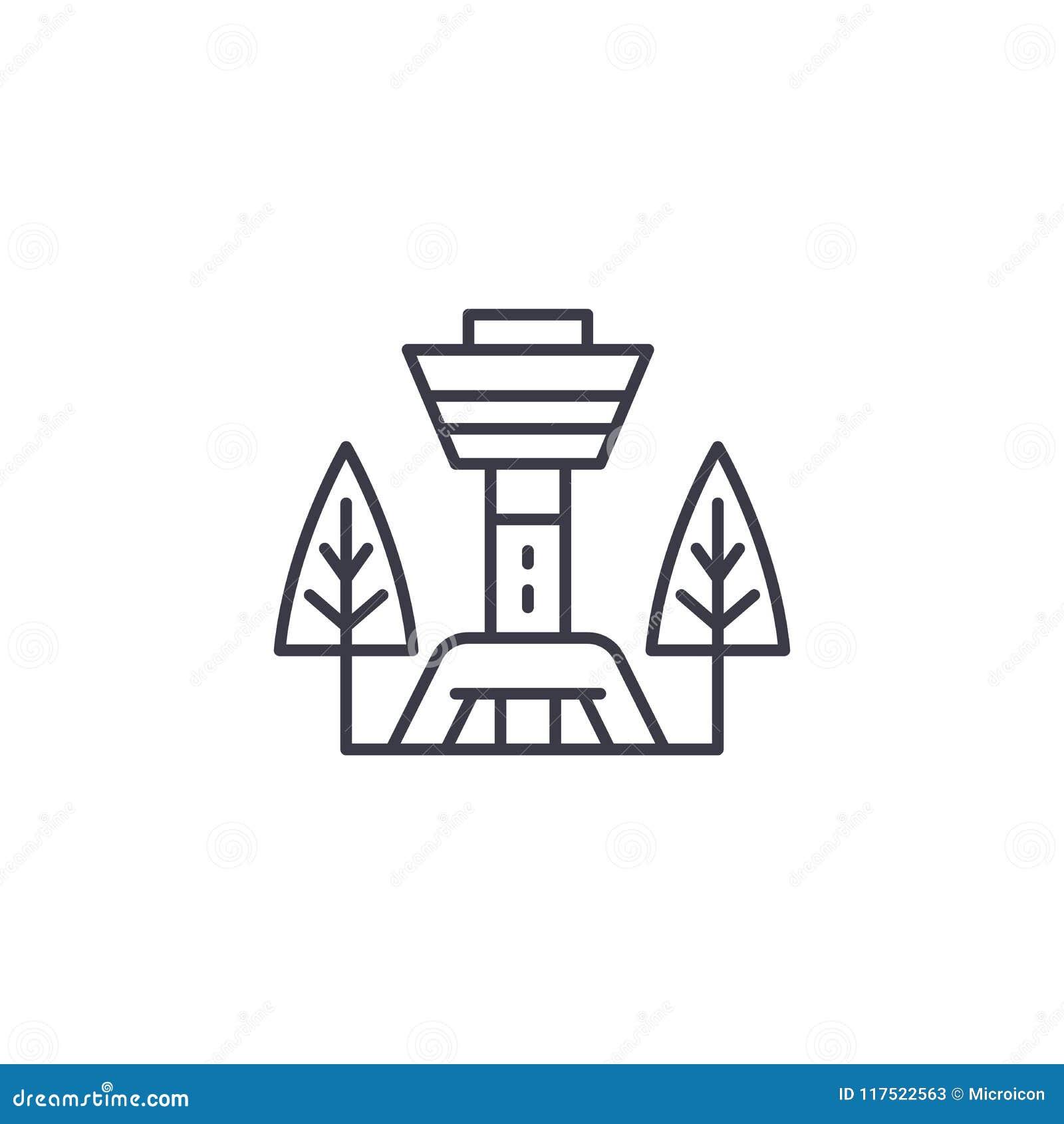 Conceito linear do ícone da torre da tevê Linha sinal da torre da tevê do vetor, símbolo, ilustração