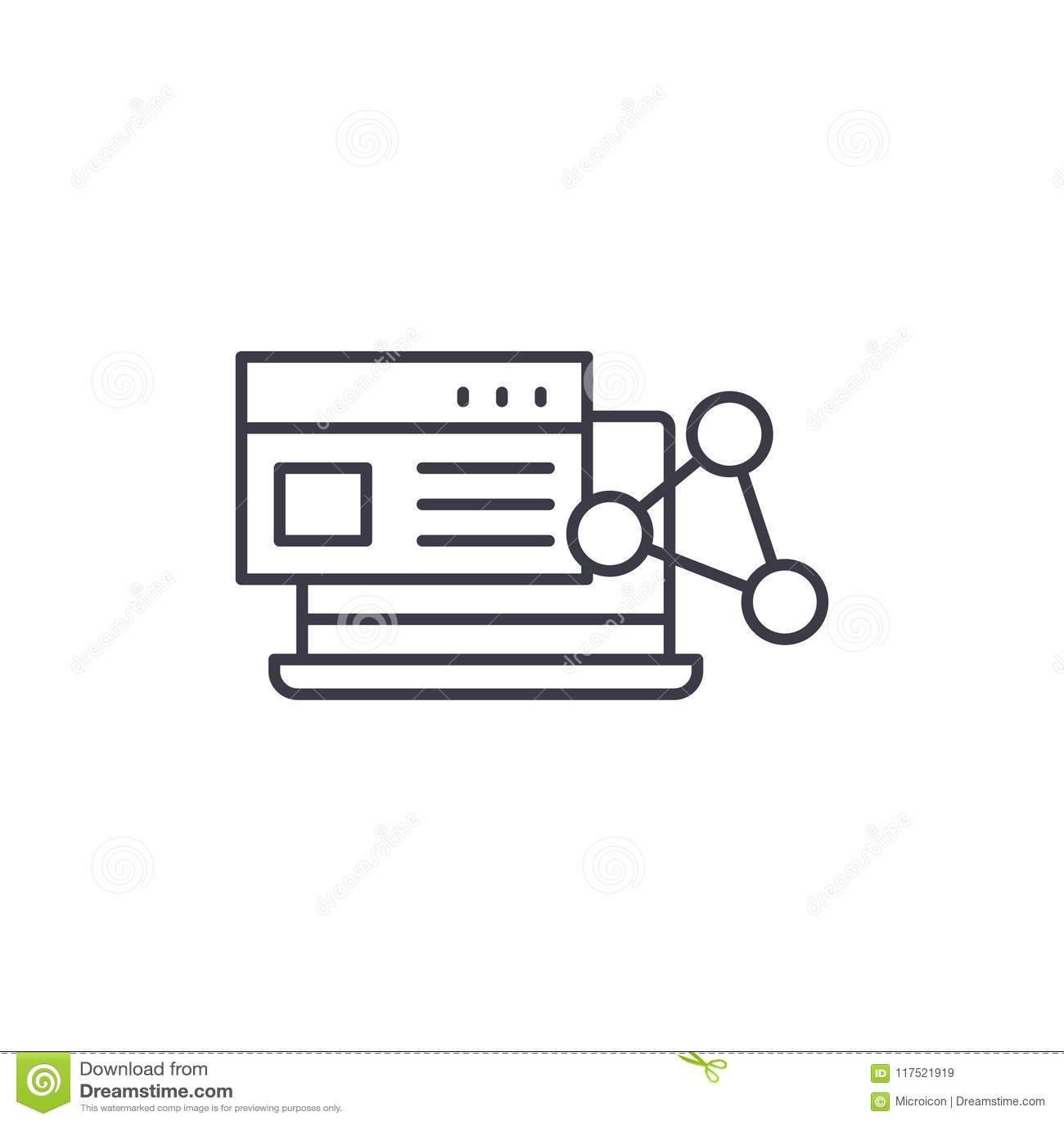Conceito linear do ícone do software Linha sinal do software do vetor, símbolo, ilustração
