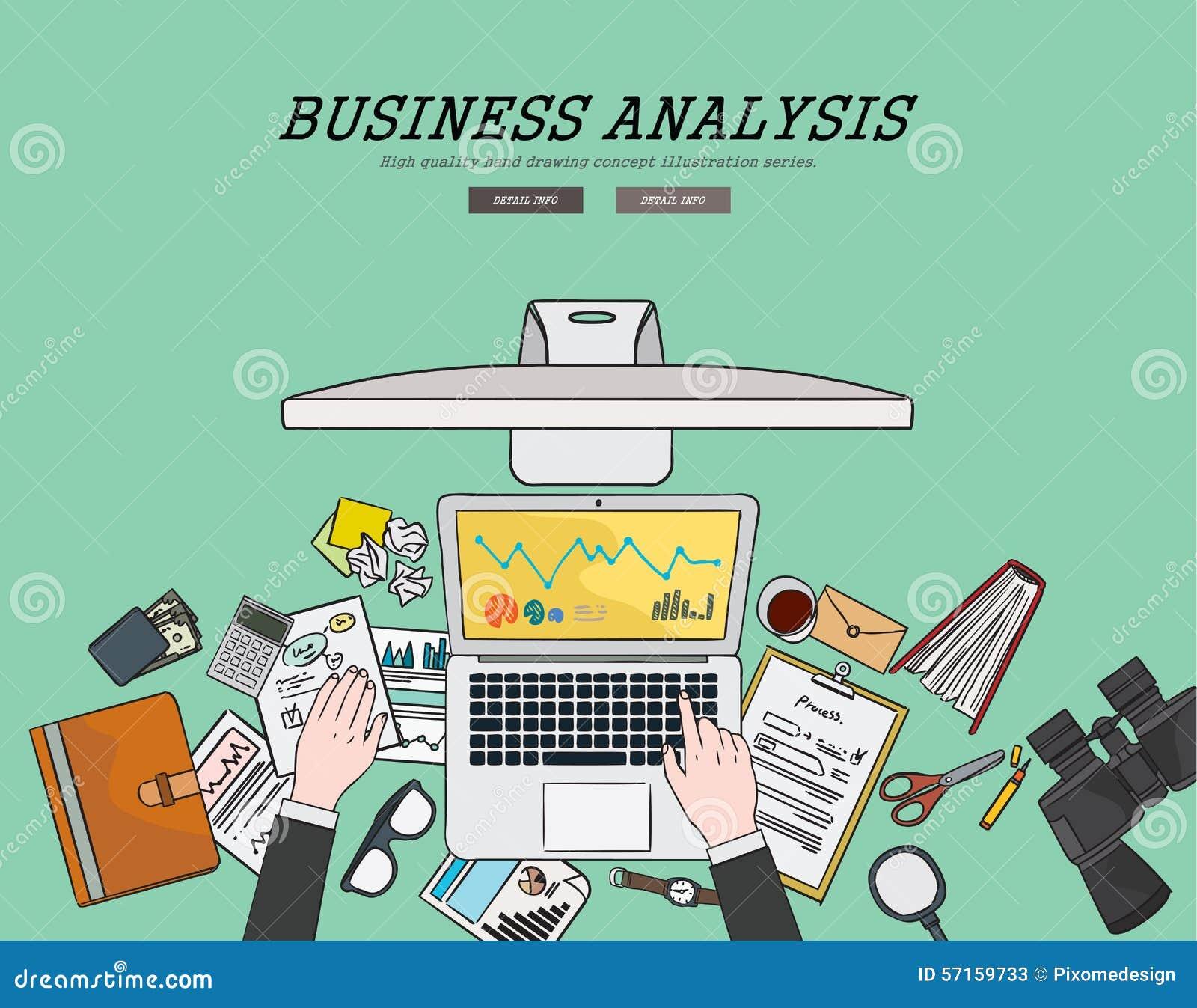 Conceito liso de tiragem da análise de negócio da ilustração do projeto Conceitos para bandeiras e materiais promocionais da Web