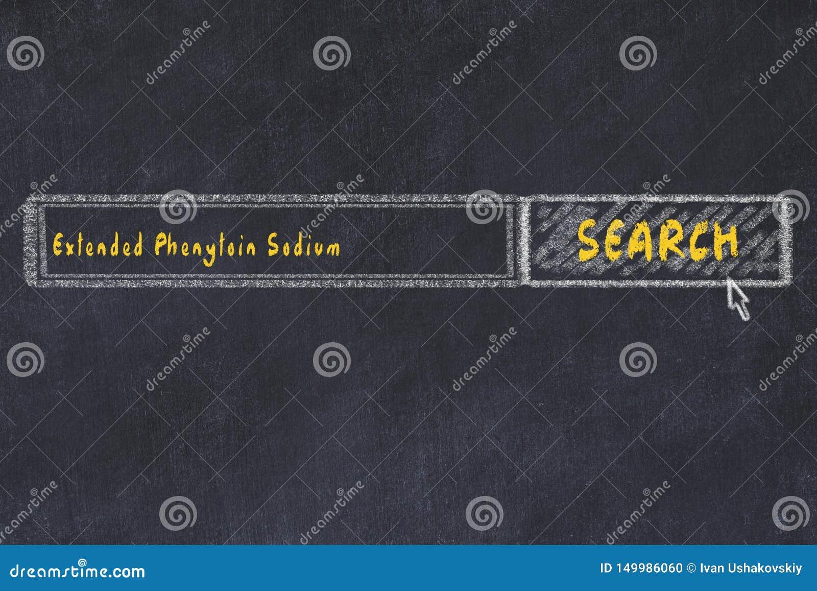 Conceito M?DICO Desenho de giz de uma janela do Search Engine que procura sódio prolongado do phenytoin da droga