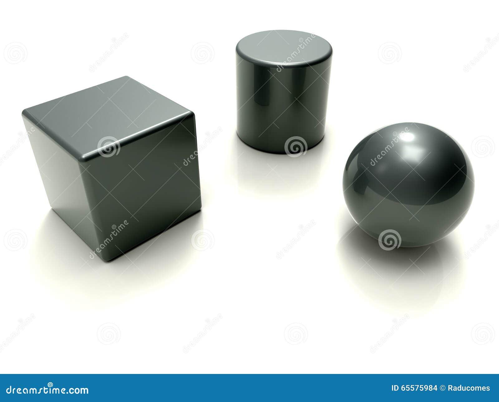 Conceito metálico da geometria 3D básica