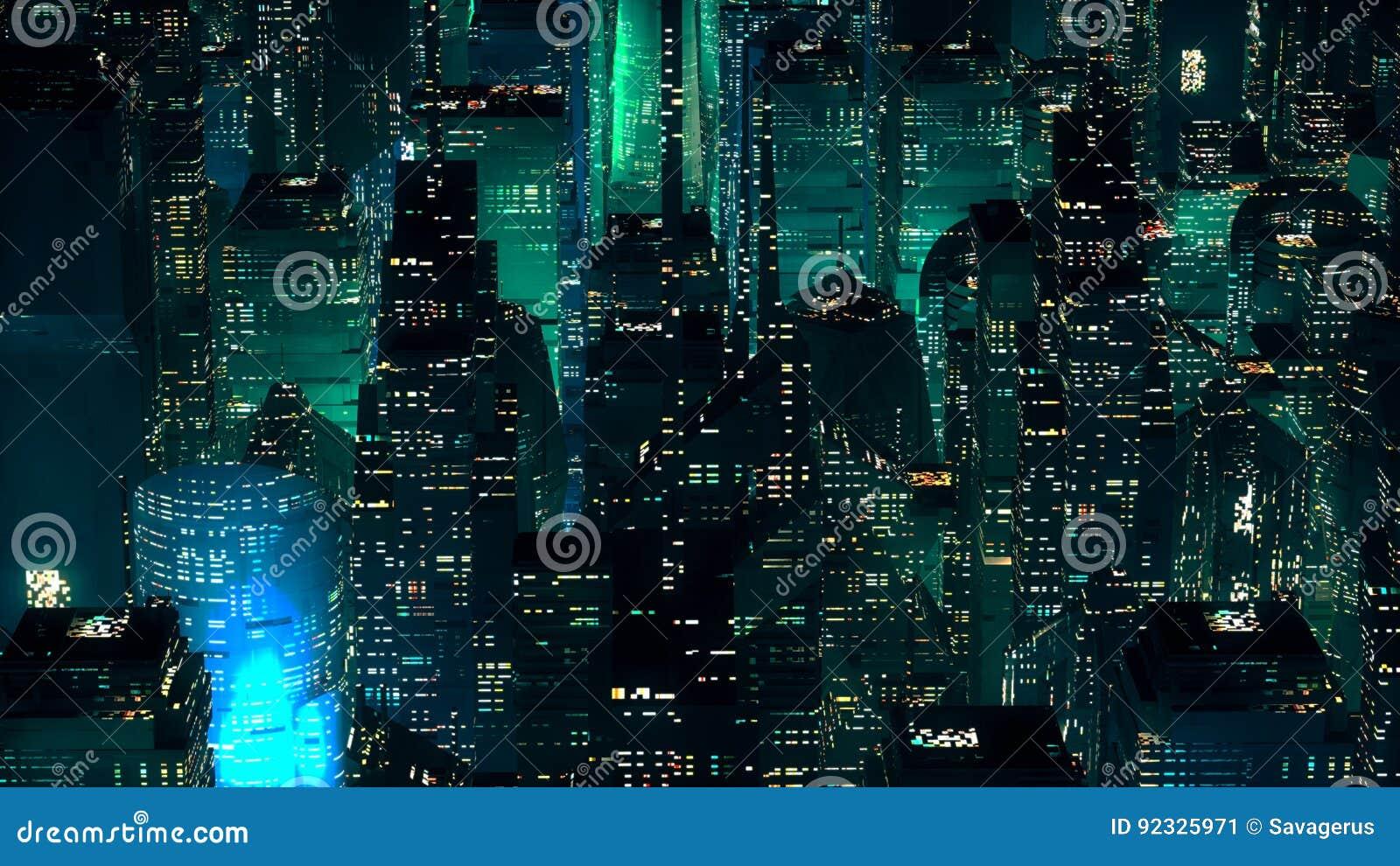 Conceito moderno da tecnologia dos arranha-céus de néon verdes da cidade