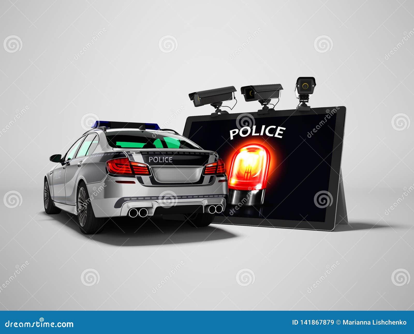 Conceito moderno de chamar o carro de polícia através do Internet 3d para render no fundo cinzento com sombra
