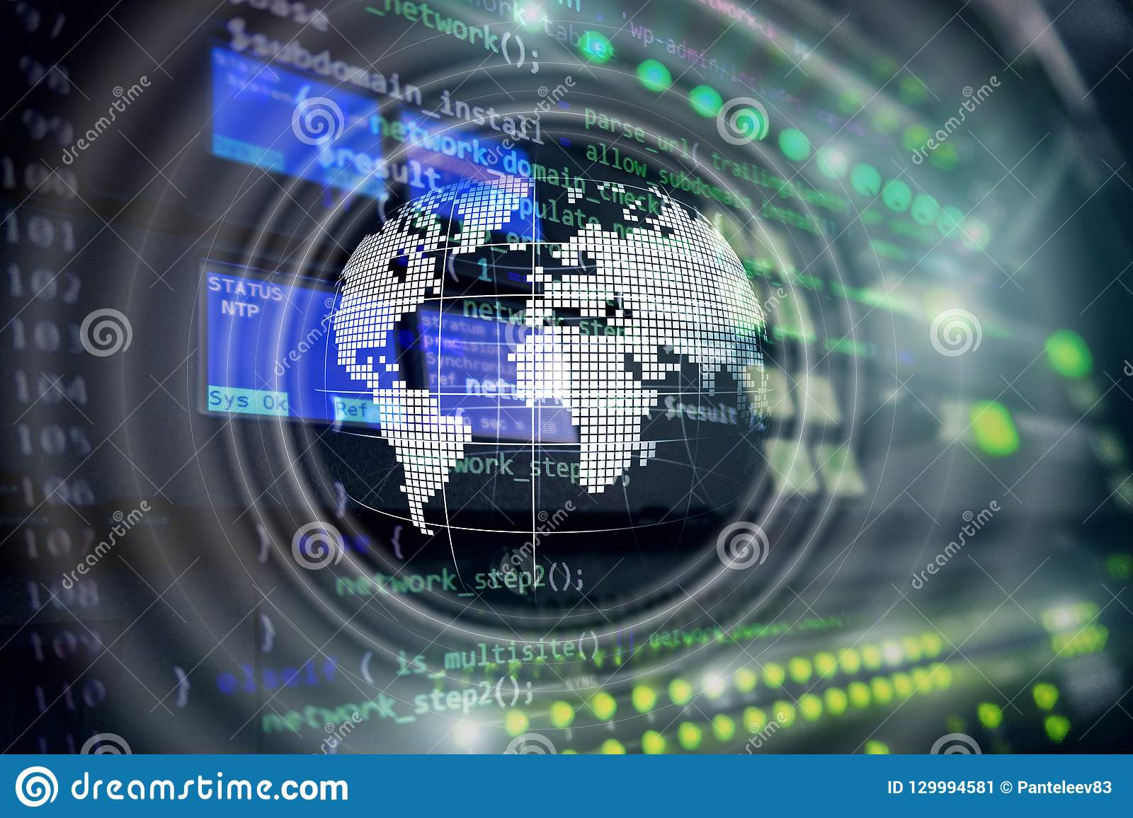 Conceito mundial do negócio de uma comunicação global do globo do holograma da terra do planeta