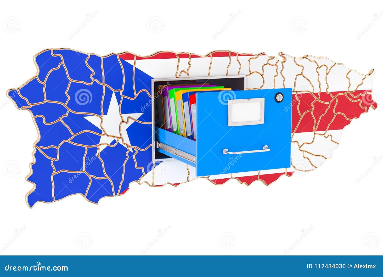Conceito nacional do base de dados de Porto Rico, rendição 3D