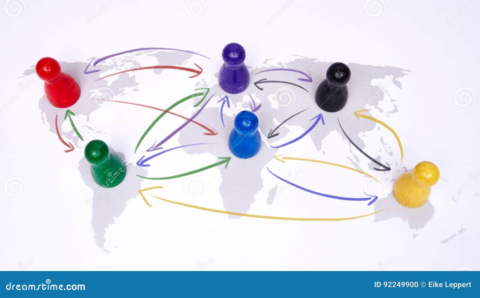 Conceito para a globalização, o negócio global, o curso ou a conexão global Figuras coloridas com setas de conexão