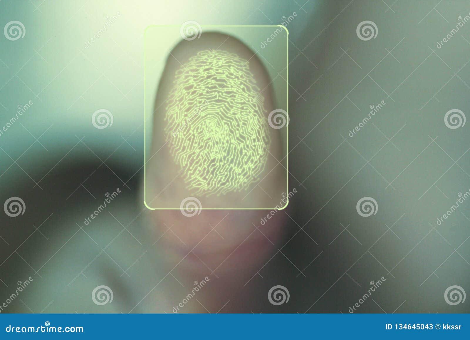 Conceito para a segurança pessoal e incorporada usando a varredura biométrica da impressão digital da identidade