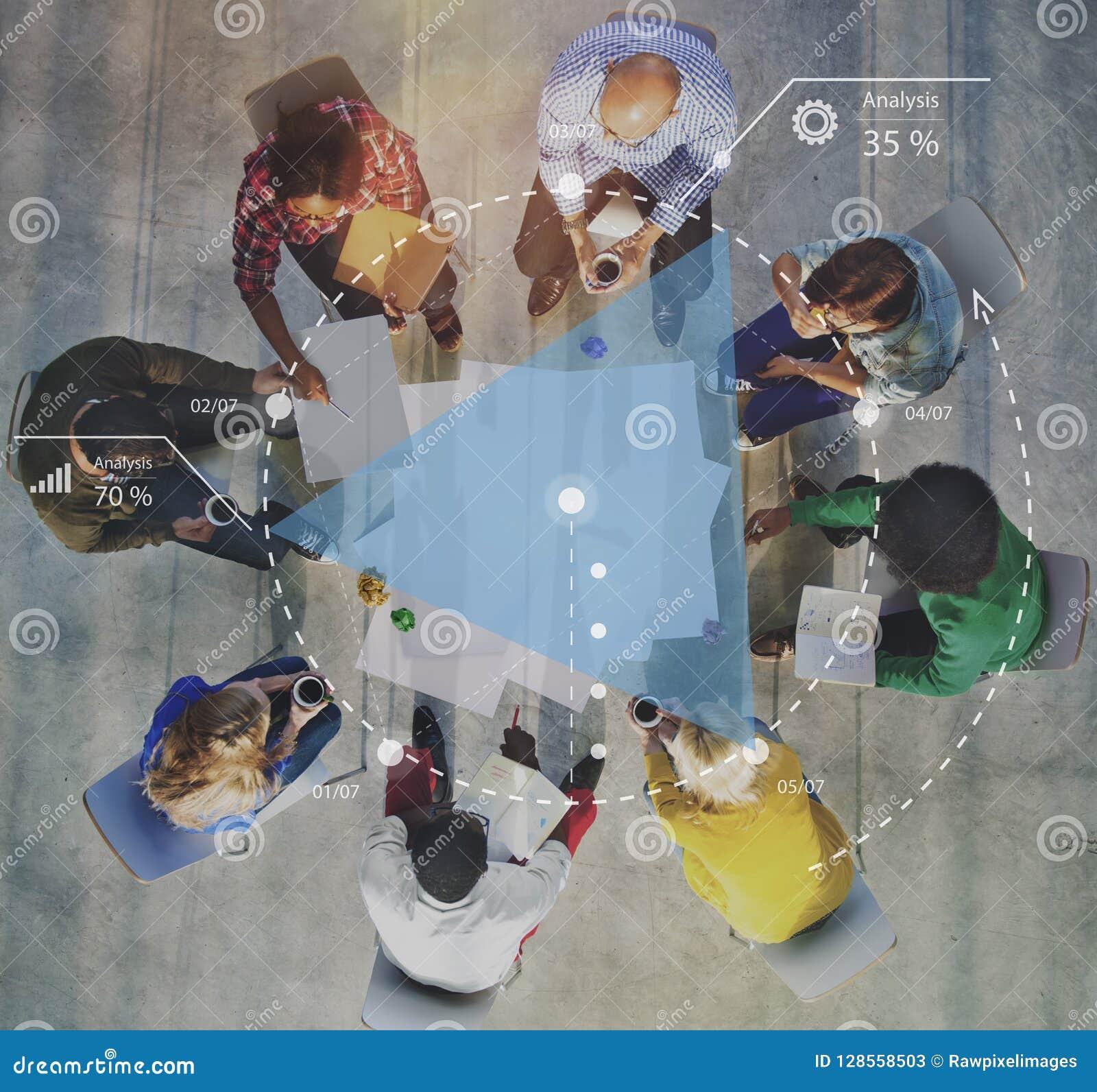Conceito planeando da sessão de reflexão da estratégia da discussão do progresso