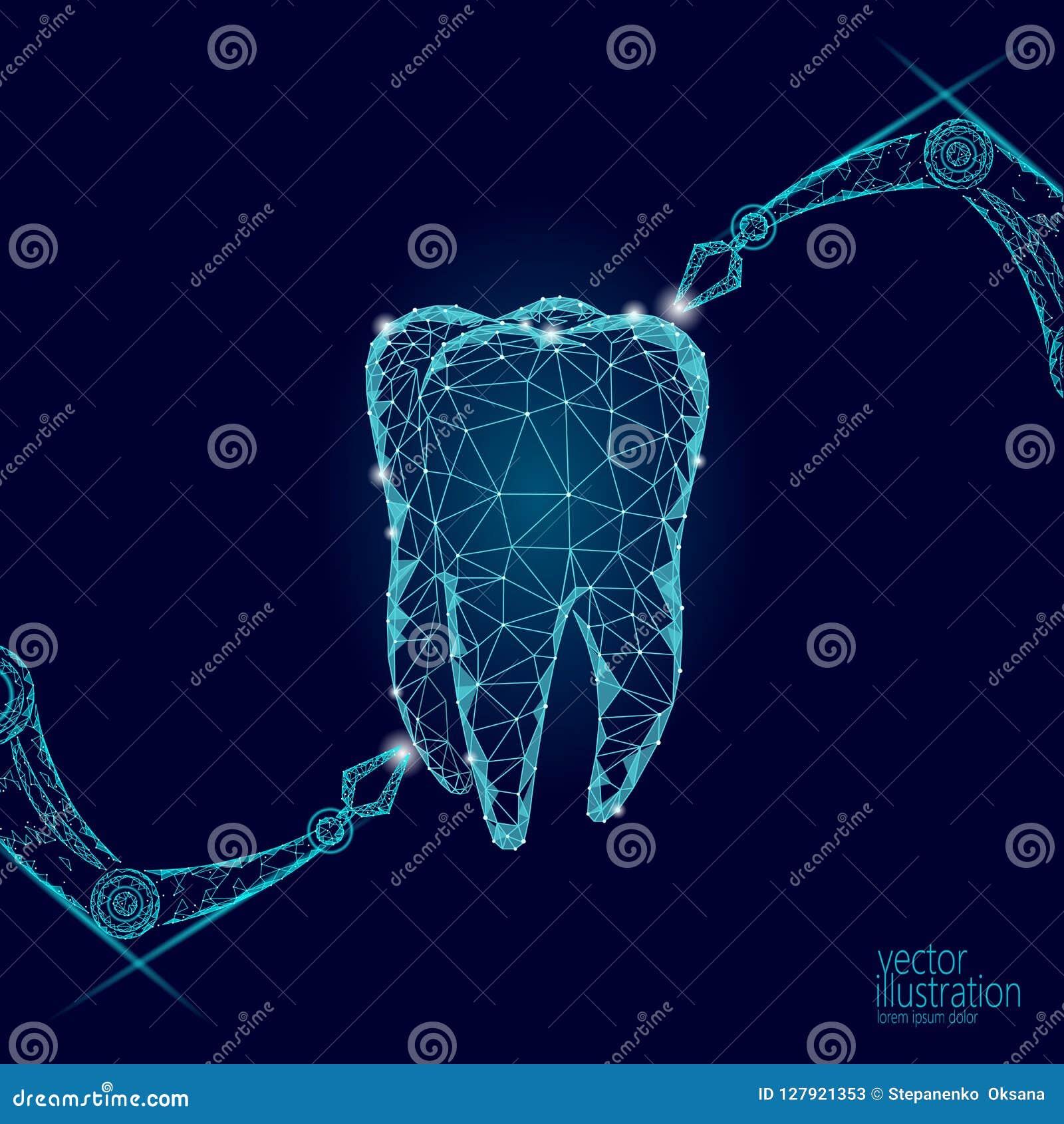 Conceito poligonal do braço do robô da inovação do dente 3d Sumário poli do triângulo do símbolo do Stomatology cuidados médicos