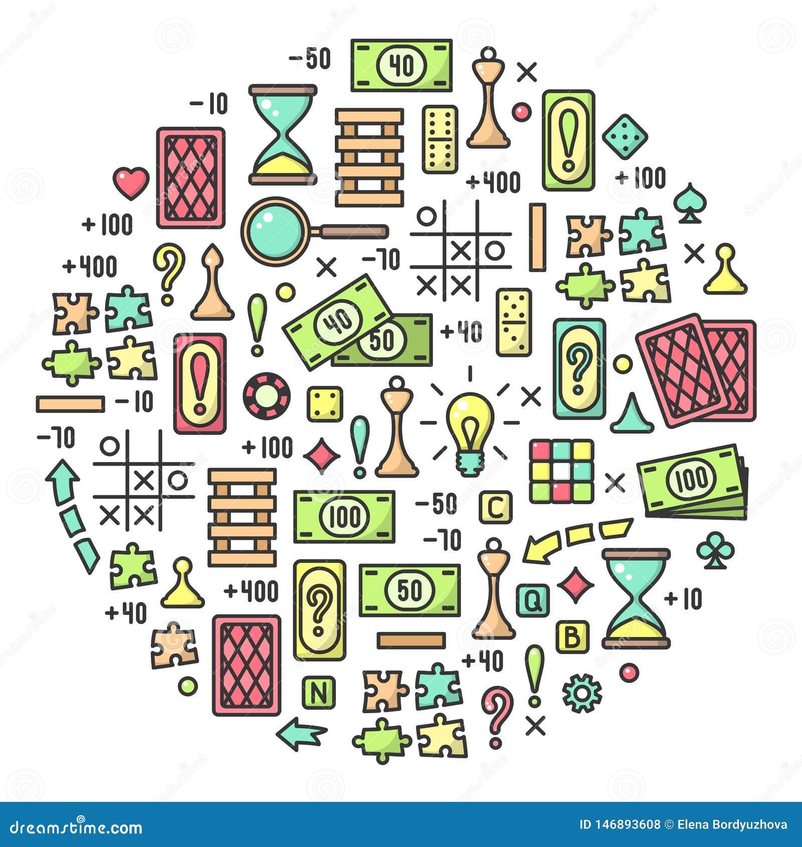 Conceito redondo com atributos coloridos dos jogos de mesa
