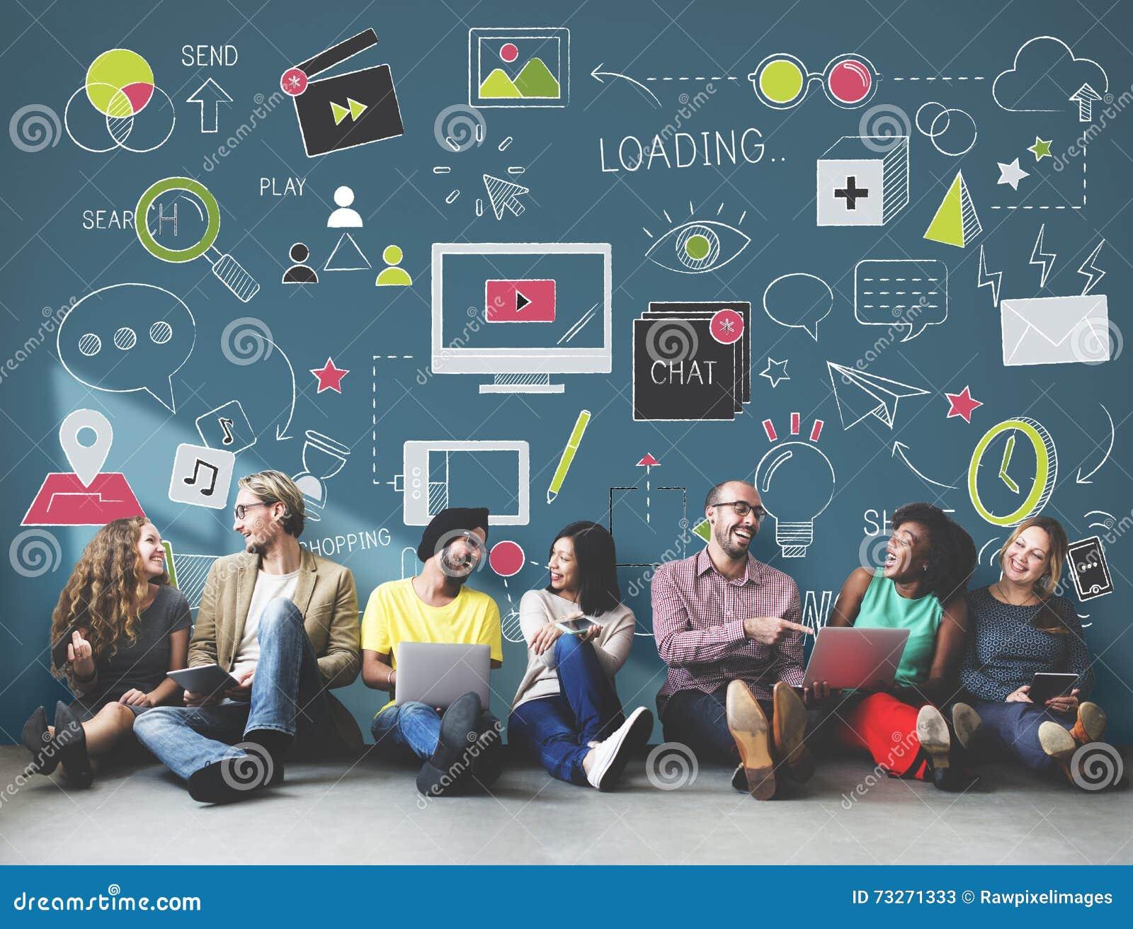Conceito social da conexão da tecnologia dos trabalhos em rede dos meios sociais