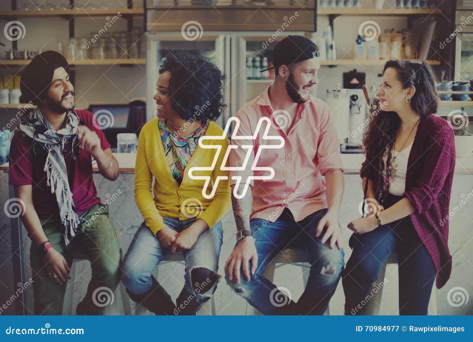 Conceito social do cargo do blogue dos meios do ícone de Hashtag