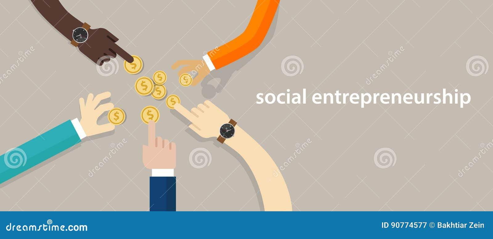 Conceito social do empreendimento do negócio com a comunidade tornando-se do bom impacto que ajuda outro na necessidade trabalho