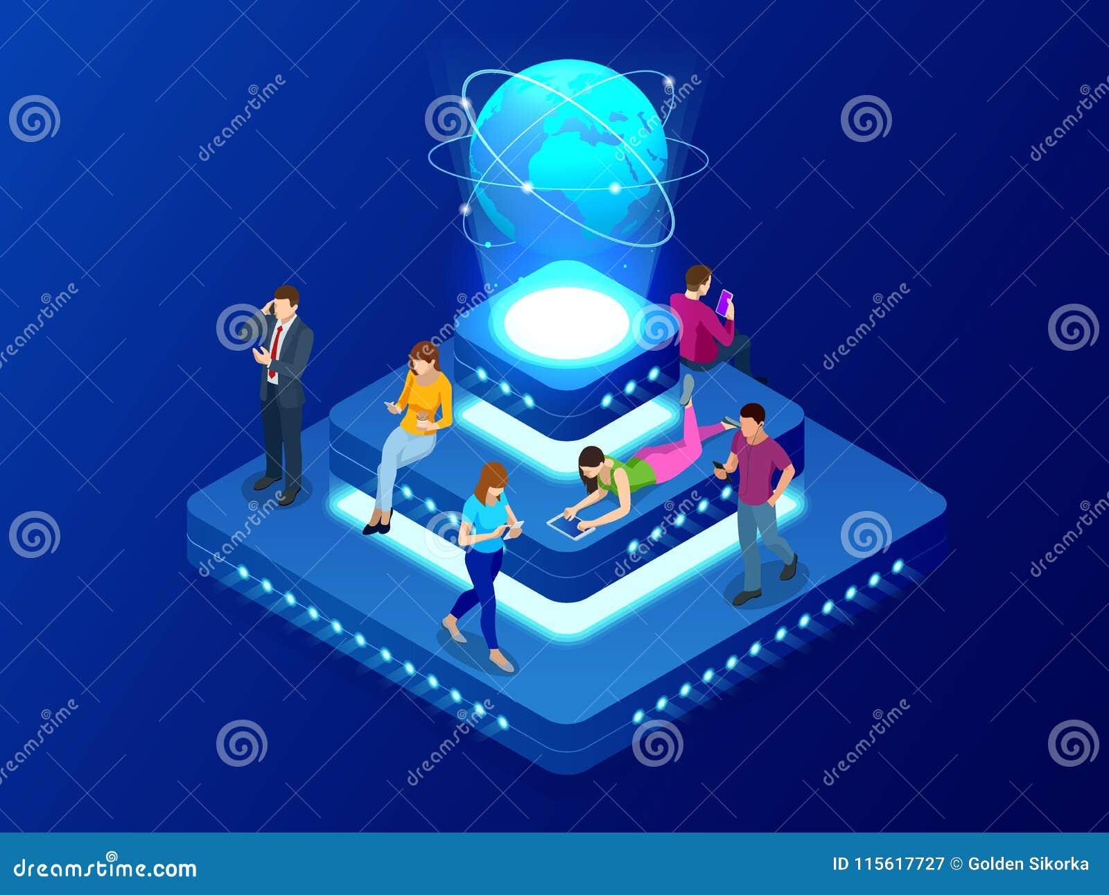 Conceito social isométrico da rede, da tecnologia, dos trabalhos em rede e do Internet Conexão de rede global, trocas de dados gl
